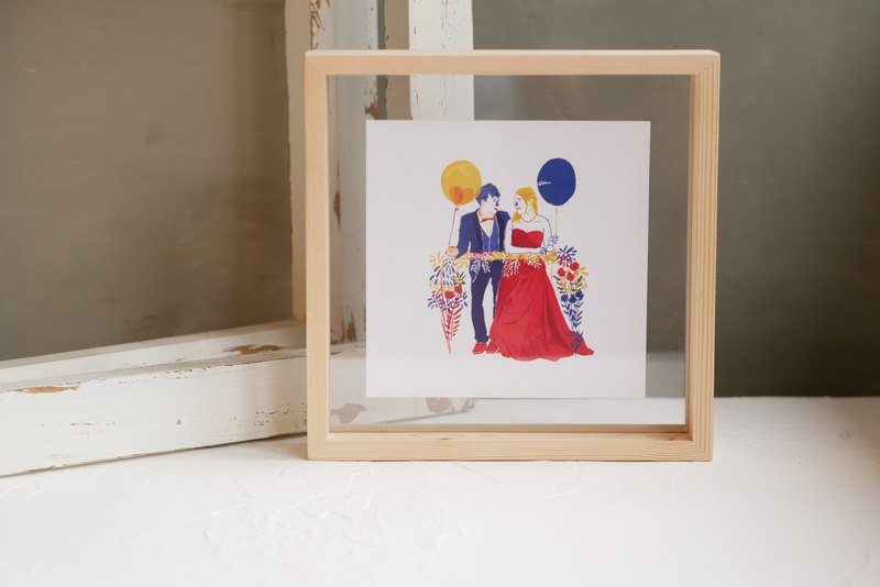 Customized portrait computer drawing - wooden frame photo frame - wedding birthday graduation gift