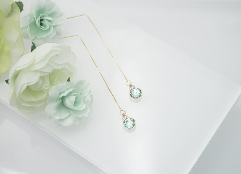 Swarovski Crystal 925 Silver Earring (Color: Chrysolite)