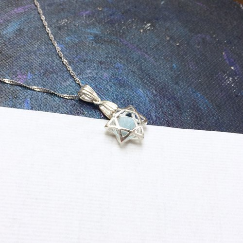 aquamarine & 925 silver-little star necklace