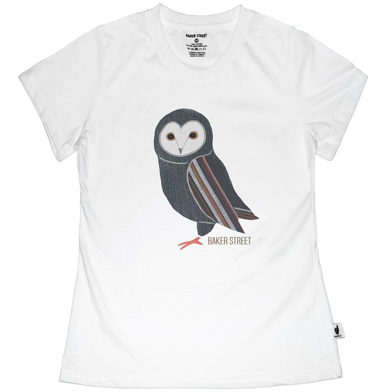 British Fashion Brand -Baker Street- Denim Owl Printed T-shirt