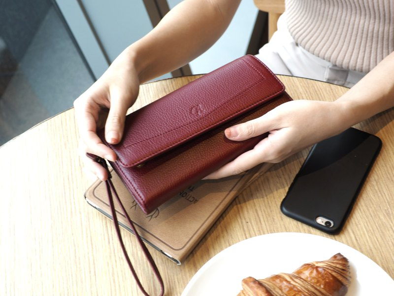 EVE (burgundy) : Long wallet, burgundy wallet, leather wallet