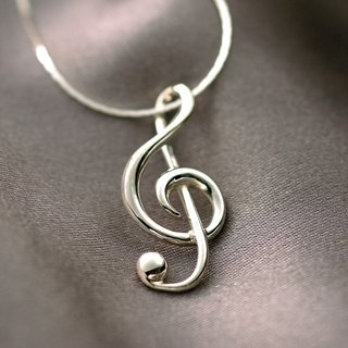 Valentine's Day [FUGUE Origin] wears a musical atmosphere - sterling silver treble clef necklace