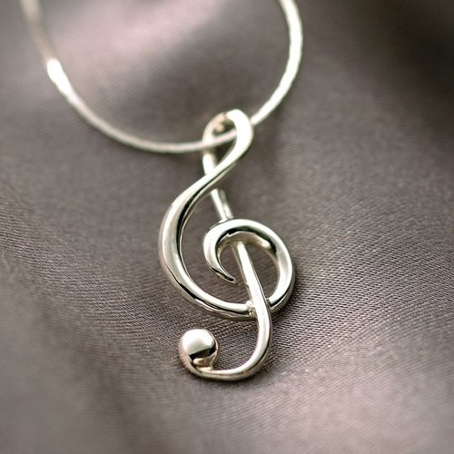 Valentine's Day [FUGUE Origin] classic - sterling silver treble number necklace; music gifts