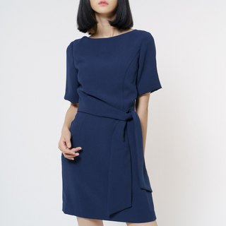Michelle Navy Ribbon Work Dress