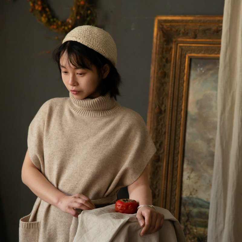 Time fragrant apricot yak wool wool and cashmere blend retro twisted sweater loose dress dress
