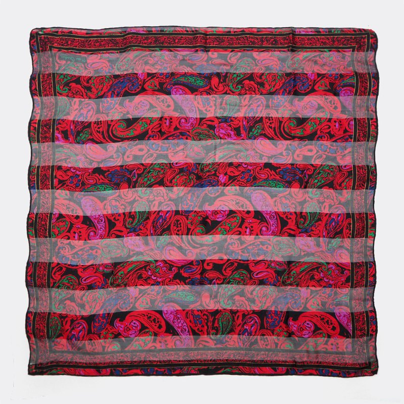 Dark red horizontal grain perspective amoeba antique silk scarf BO0016