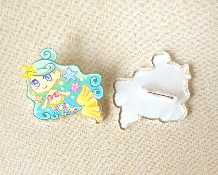 Mermaid Pin - Acrylic Pin Badge