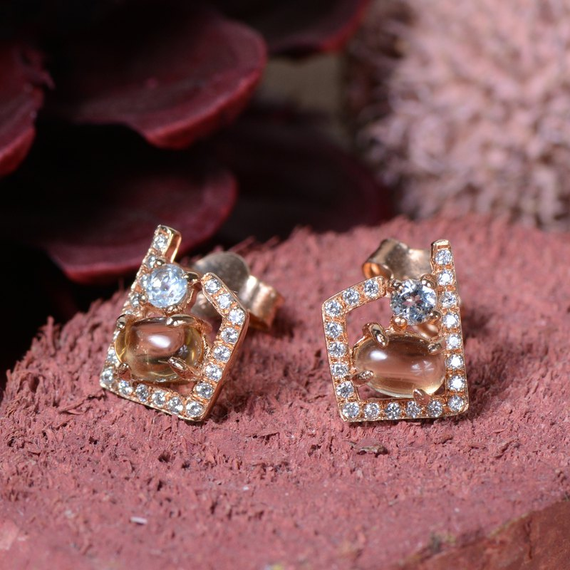 MEADOW - Citrine with Blue Topaz 18K Rose Gold Plated Silver Earring Stud