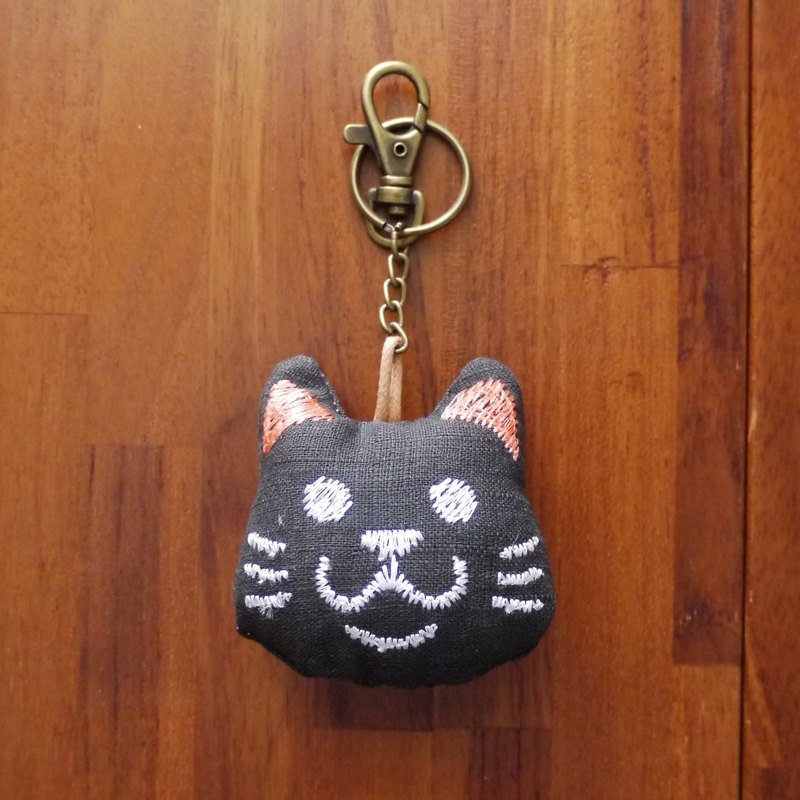 Big head meow embroidery cotton key ring strap (can be embroidered in English name please note)