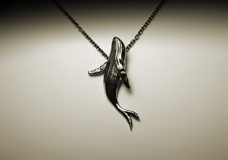 Humpback whale silver necklace