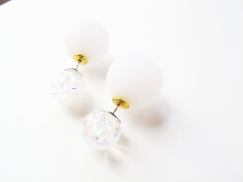* Rosy Garden * Symphony sequined snowflakes snow white flowing glitter crystal ball pin earrings with resin balls ear plug
