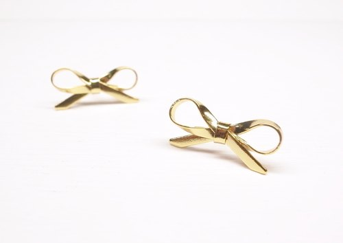 """Two silver"" [bow brass plated 18K gold earrings] (one pair)"