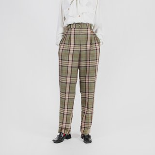 [Egg plant ancient] scented tea lattice straight old vintage pants