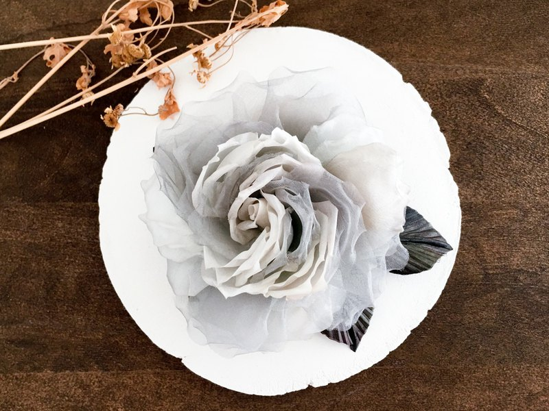 Corsage: silk antique rose