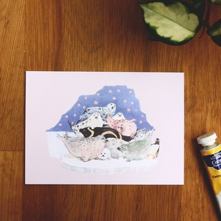 ☁ chirp Kyrgyzstan watercolor - hand-painted postcards / Polar Penguin