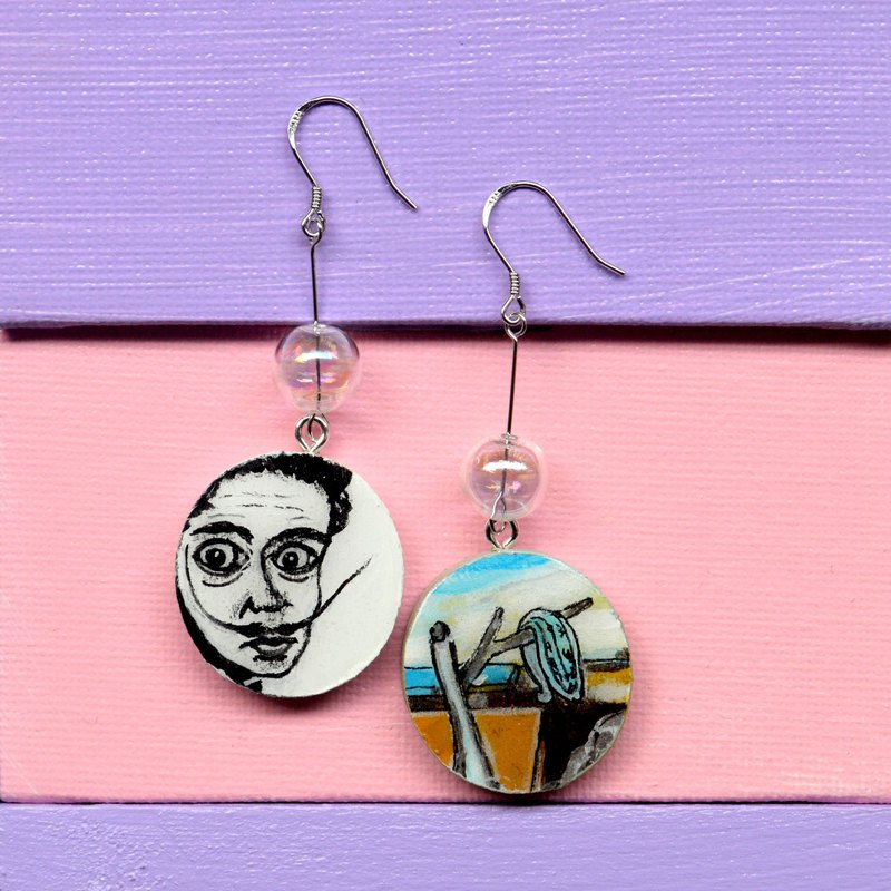 Non-materials series Dali time eternal asymmetrical earrings ear clip hand-painted wooden resin seal
