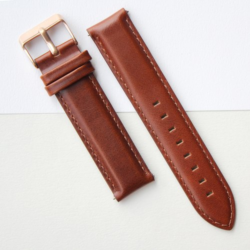 【PICONO】Quick release brown leather strap-Rosegold