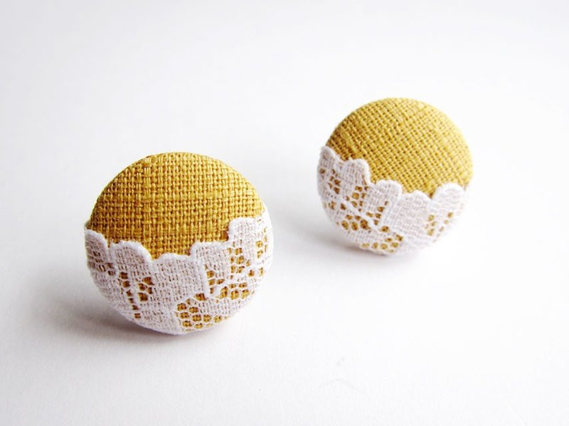 Mustard yellow lace cloth buckle earrings clip-on earrings can do