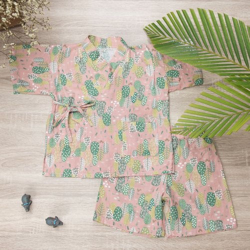 """Japanese double yarn kimono (including pants) - powder leaves"" hand for non-toxic bathrobe is very flat baby clothes"