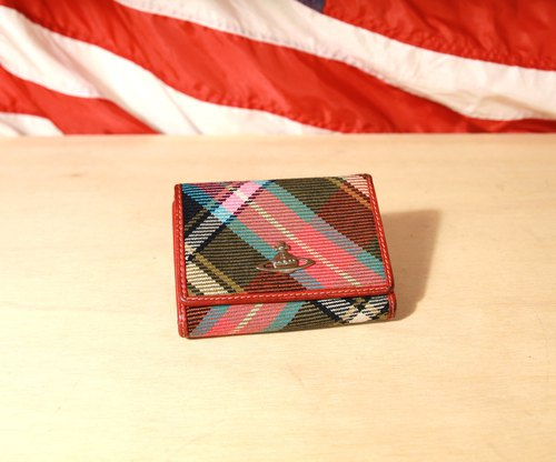 Back to Green:: Vivienne Westwood 格紋 焦糖內裡 vintage wallet ( WT-39 )