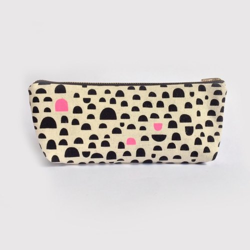 Cute Pencil Case, Pencil Pouch, Canvas, Black and Pink