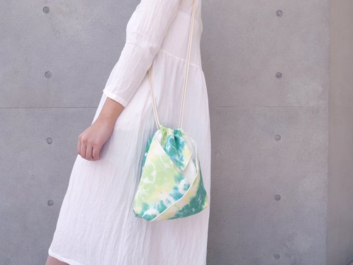 Tie dye/handmade/Kimono bag/hand bag/shoulder bag [Herb tea]