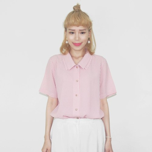 Double pink plaid short-sleeved shirt collar chiffon vintage BA4020