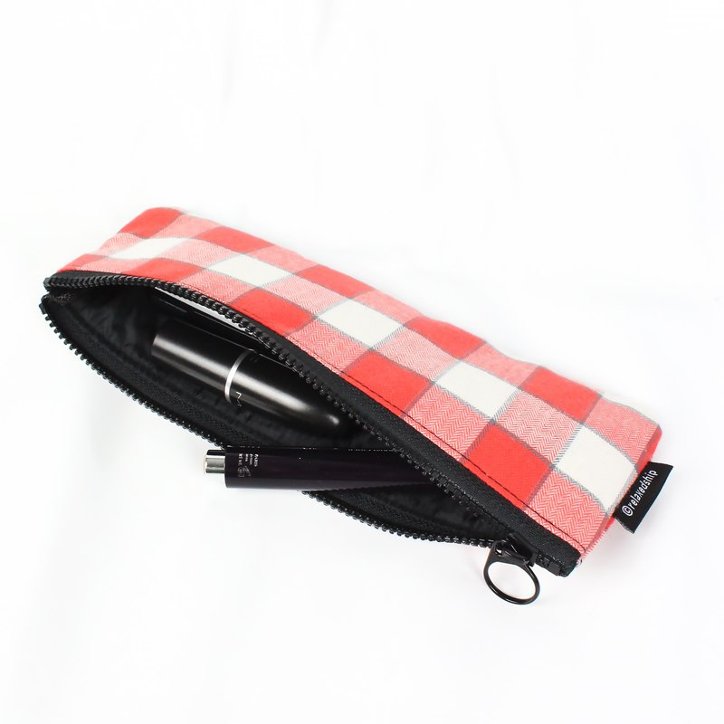 Plaid Pencil Case-Red Plaid