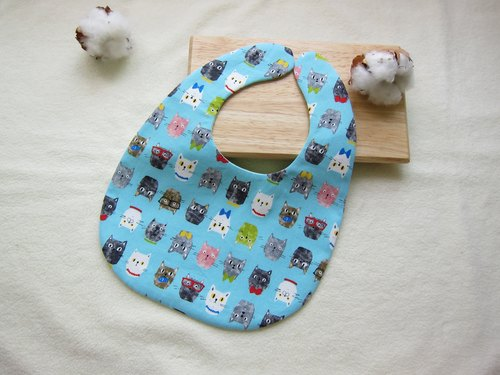 Cat friends - infant baby cotton bibs, bibs (blue)