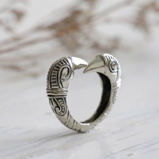 VIKING RAVEN RING Sterling silver Mammen Art Style Jewelry Crow Pagan Norse Bird