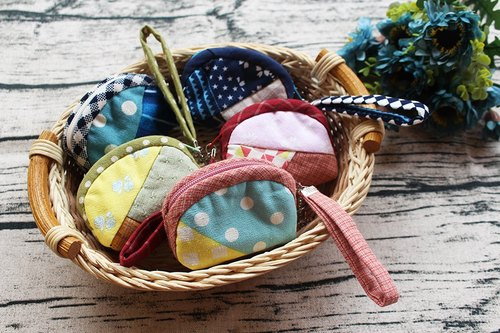 Patchwork zipper purse mini key ring / Storage bag strap