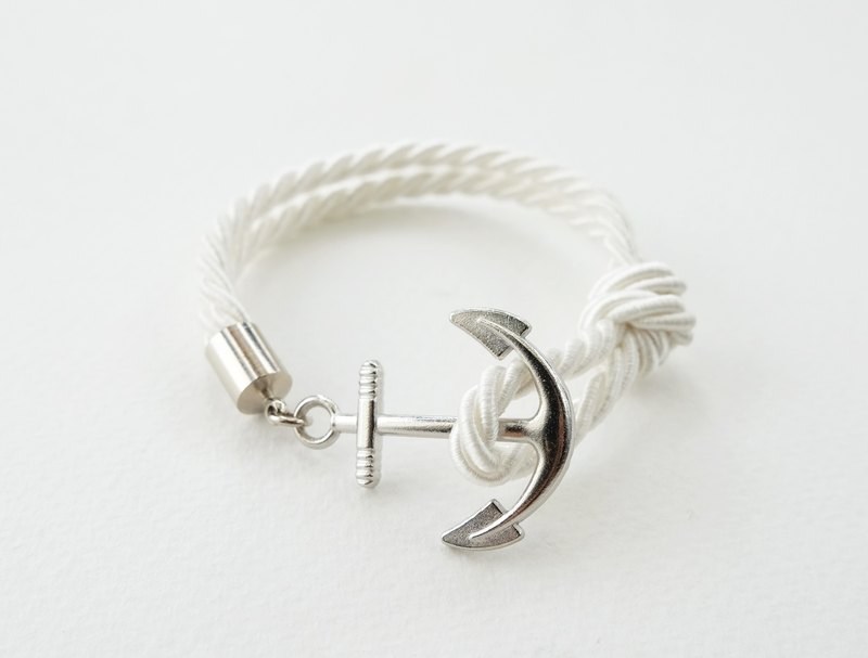 Anchor bracelet / White twisted rope