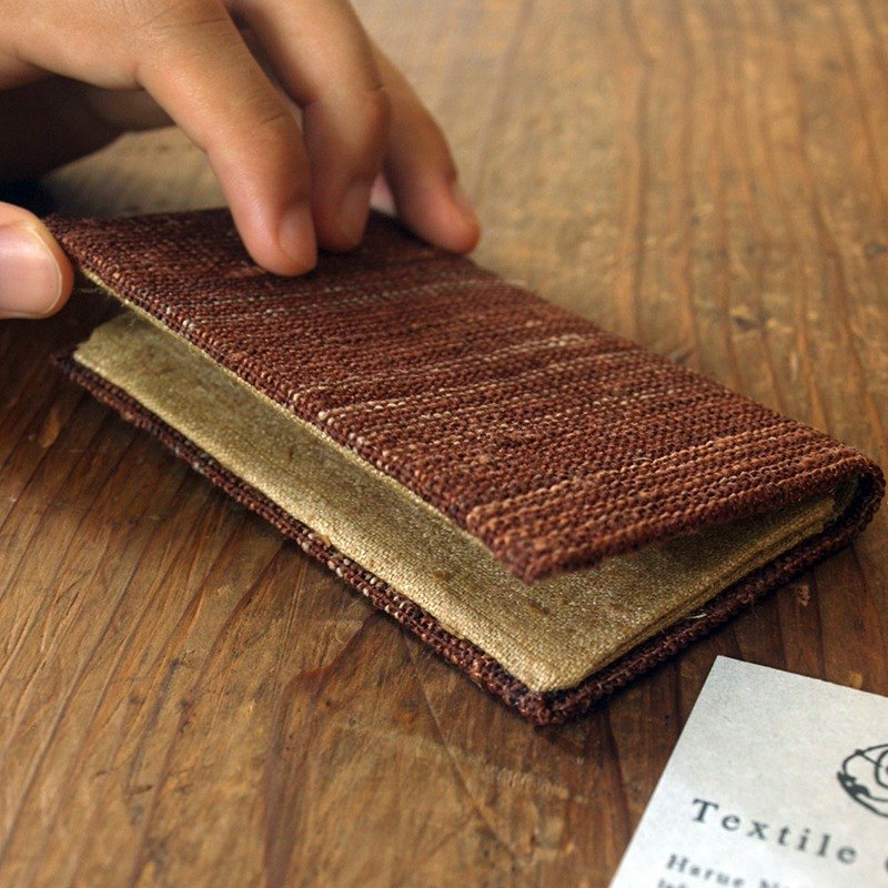 "Handwoven Fabric Card Holder / ""brick pavement"""