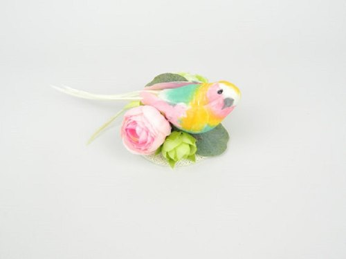 RESERVED FOR SHU! Fascinator Mini Hair Accessory Clip with Bright Feathered Bird and Silk Flowers in Pastel Colours Spring Summer Wedding Bridal