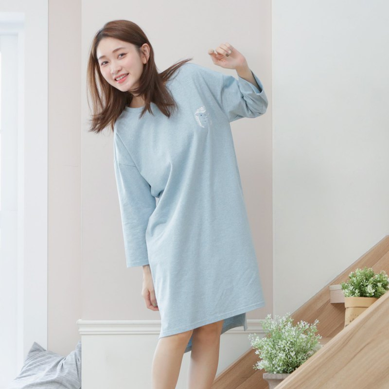 Organic cotton home seven-point sleeve dress (flower hedgehog) twist blue