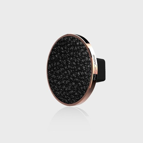 JustClick Napa Black Leather Magnetic Seat - Rose Gold