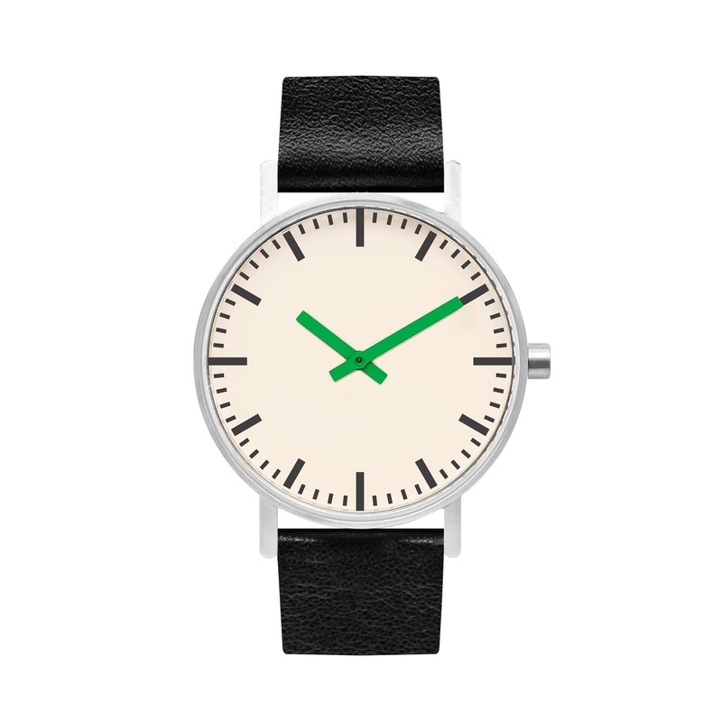 BIJOUONE B50 series watch green pointer black leather strap simple waterproof personality design men and women
