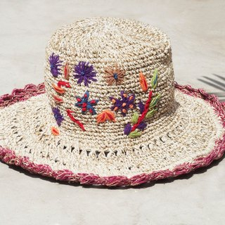Mother's Day gift limited a hand-woven cotton / hat / hat / fisherman hat / sun hat / straw hat / straw hat - Boho rainbow embroidery flowers forest wind (purple)