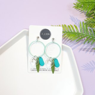 Transparent swimming ring series - tropical rain forest ear / ear clip handmade earrings Korea direct