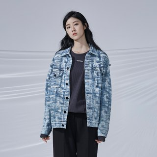 DYCTEAM - Cross Pattern Jacquard Jacket Denim Flower Washed Snowflake Jacket