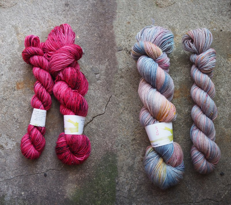 Hand dyed the line. Custom combination (spark) (marshmallow + love)