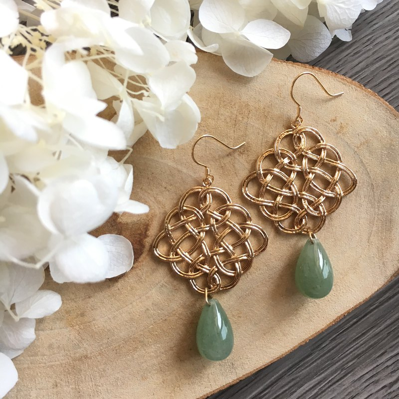 Gold-Tone Endless Knot Earrings with Jade drop