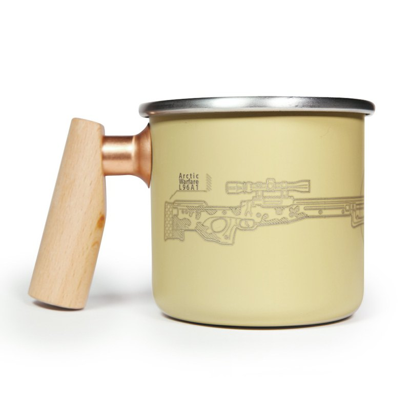 Wooden handle stainless mug 400ml (SAS)