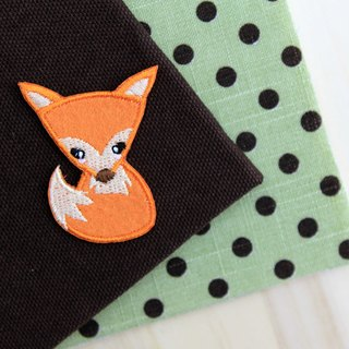 Volume tail fox self-adhesive embroidered cloth stickers - Forest cute animal series