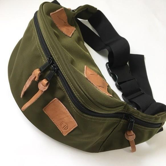 Classical body back of Cordura and Natural shrink leather [Khaki]