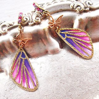 Pink Purple Gold Line Dance Butterfly Wing Earrings