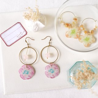 Flower collection book handmade earrings - flying powder crystal can be changed
