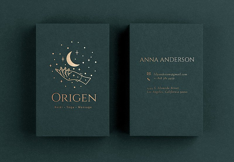 Gold Foil Business Card Design in forest green paper