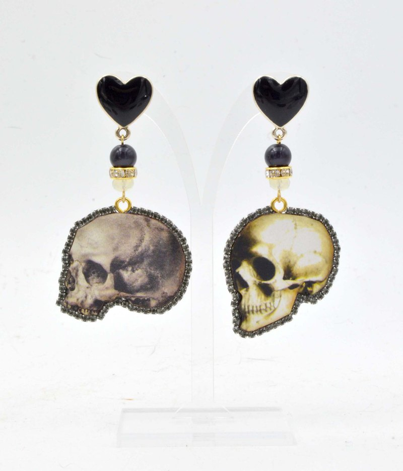 TIMBEE LO Vintage Style Skull Pattern Wood Earrings with Swarovski Crystals