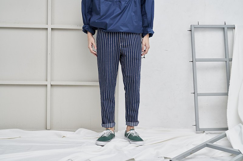 COP1641-1616 Elastic tanning striped trousers - dark blue stripes